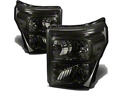 Factory Style Headlights with Clear Corner Lights; Chrome Housing; Smoked Lens (11-16 F-250 Super Duty)