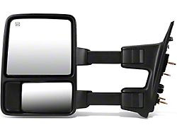 Towing Mirror; Left; Power Heated; With Amber LED Signal; Black (11-16 F-250 Super Duty)