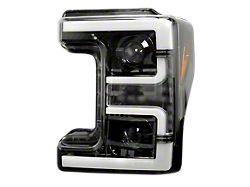 OLED DRL Projector Headlights; Black Housing; Smoked Lens (17-19 F-250/F-350 Super Duty w/ Factory Halogen Headlights)