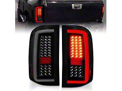 Light Bar Style LED Tail Lights; Black Housing; Smoked Lens (07-13 Silverado 1500 w/o Factory LED Tail Lights)