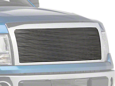 Modern Billet Upper Grille Insert w/ Emblem Delete - Polished (09-12 All, Excluding Harley Davidson, Platinum & Raptor)