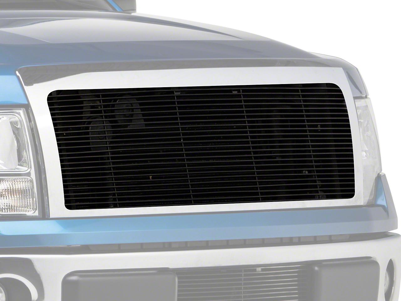 Modern Billet Upper Grille Insert w/ Emblem Delete - Black (09-12 F-150, Excluding Harley Davidson, Platinum & Raptor)