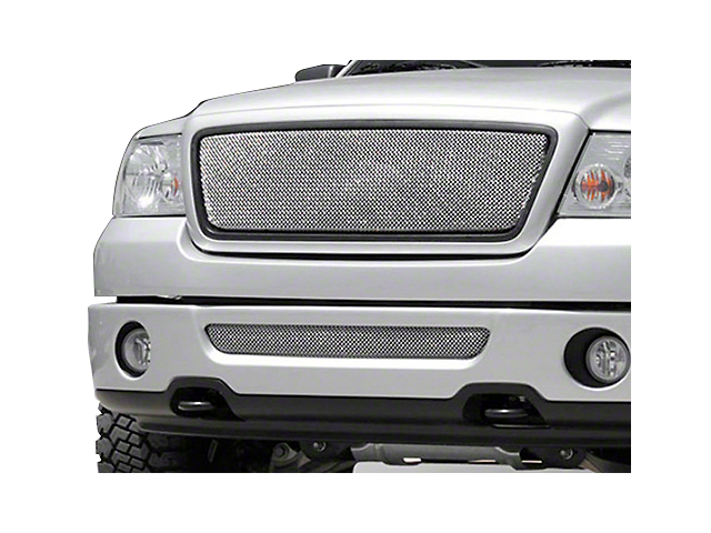 T-REX Sport Series Upper Mesh Overlay Grille w/ Emblem Delete - Chrome (04-08 F-150 XL, XLT, Lariat)