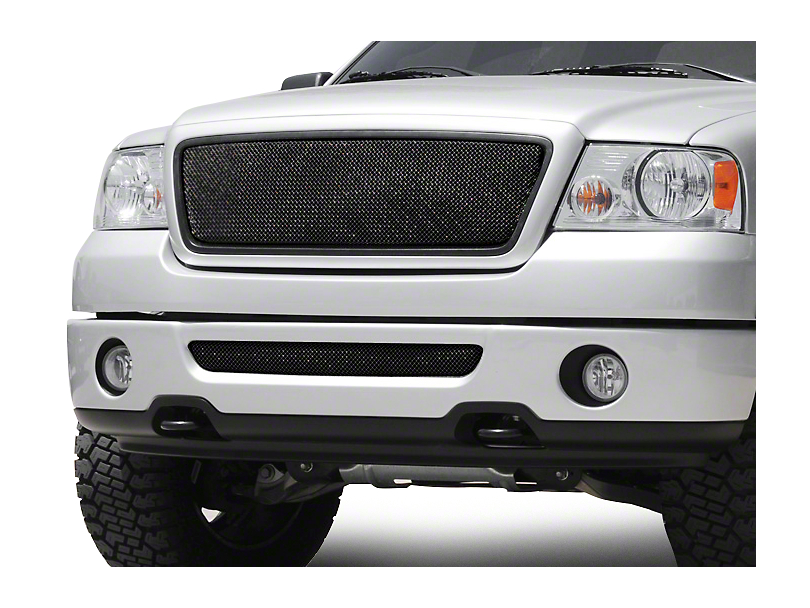 T-REX Sport Series Upper Mesh Overlay Grille w/ Emblem Delete - Black (04-08 XL, XLT, Lariat)