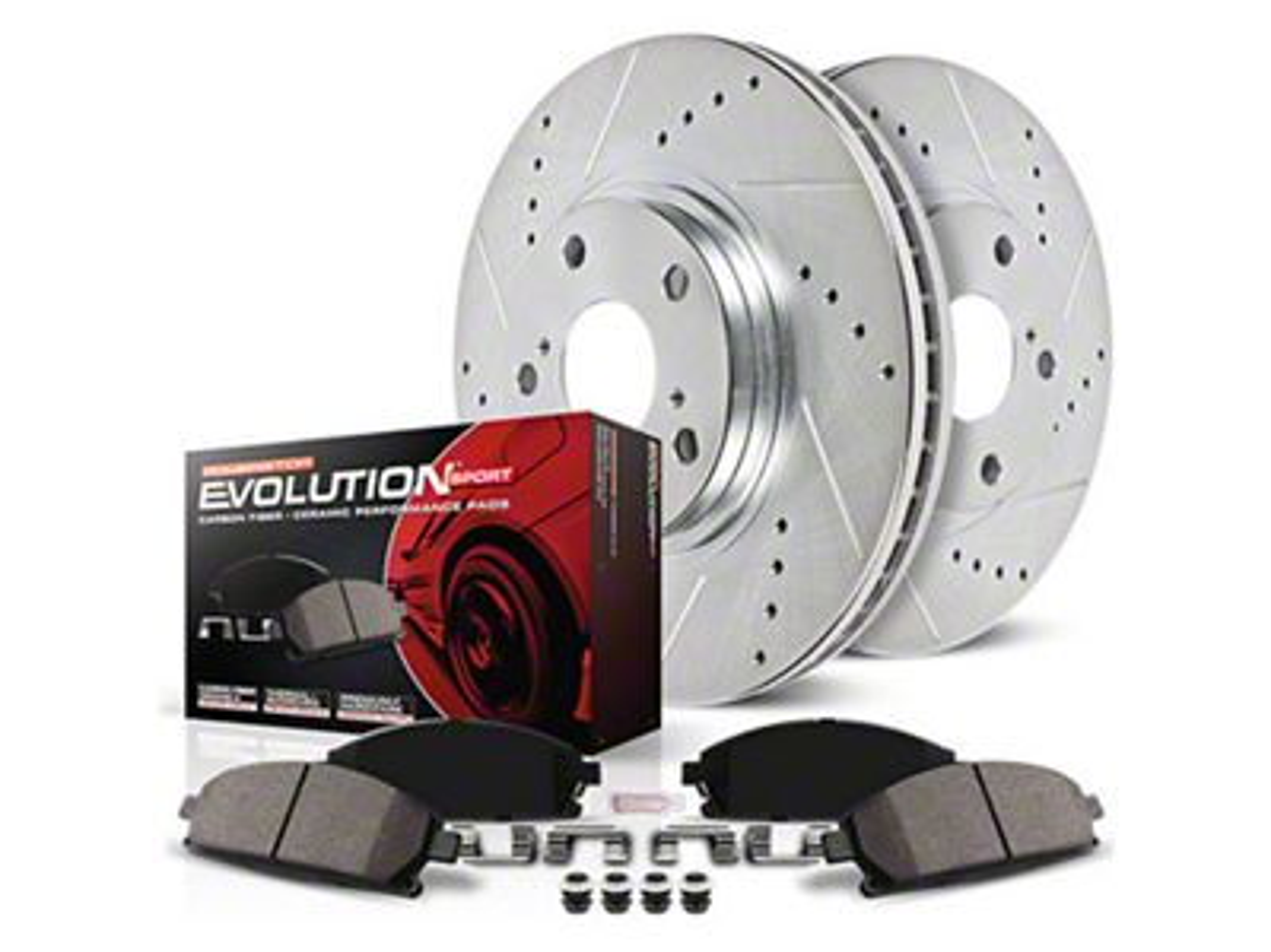 4 Ceramic Pads Front Kit 6lug -Combo Brake Kit 2 Black Zinc Plated Drilled Disc Brake Rotors