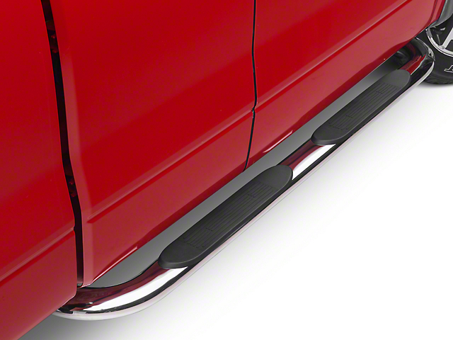 Barricade 4 in. Oval Curved Side Step Bars - Stainless Steel (04-08 F-150)