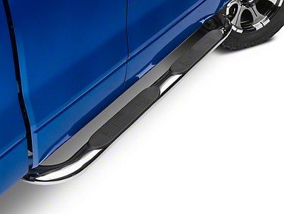Barricade 4 in. Oval Bend Side Step Bars - Stainless Steel (09-14 F-150)