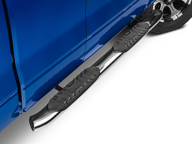 Barricade 5 in. Oval Bend Side Step Bars - Stainless Steel (09-14 F-150 SuperCab, SuperCrew)
