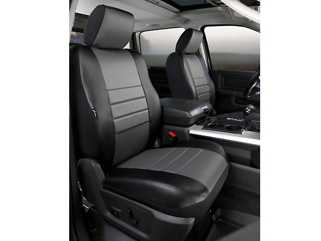 Fia Custom Fit LeatherLite Front Seat Covers - Gray (09-14 w/ Bucket Seats)