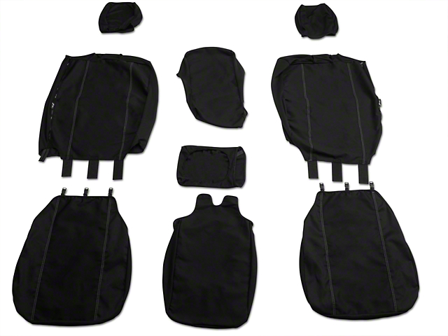Fia Custom Fit Poly-Cotton Front 40/20/40 Seat Cover - Black (04-08 w/ Bench Seat)