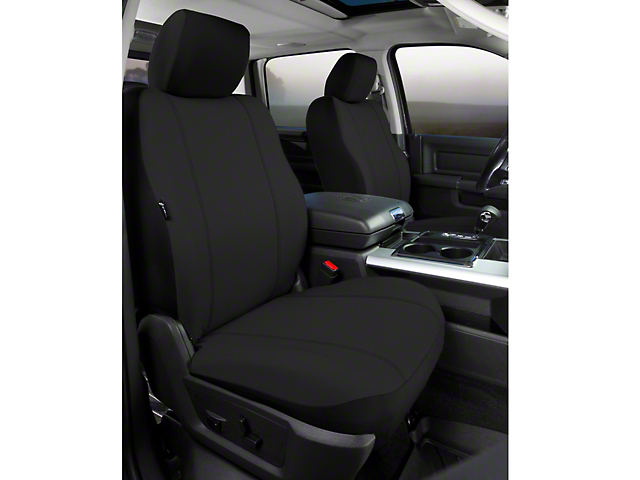 Fia Custom Fit Poly-Cotton Front Seat Covers - Black (09-14 w/ Bucket Seats)