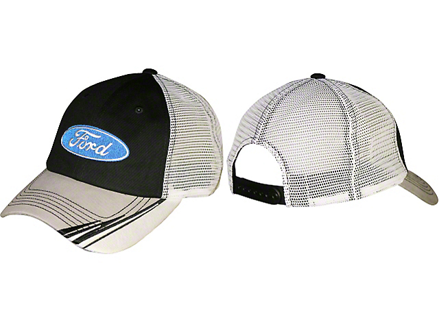 Ford Blue Oval Trucker Hat - Black & White