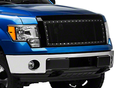Modern Billet Black Stainless Steel Rivet Style Upper Replacement Grille - Black Shell (09-14 All, Excluding Raptor)
