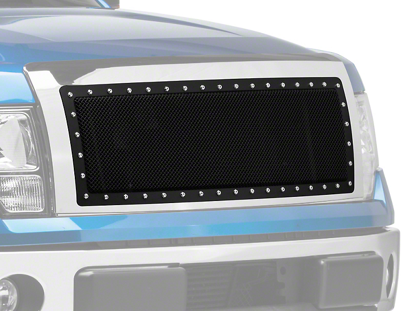 Modern Billet Black Stainless Steel Rivet Style Upper Replacement Grille - Chrome Shell (09-14 F-150, Excluding Raptor)