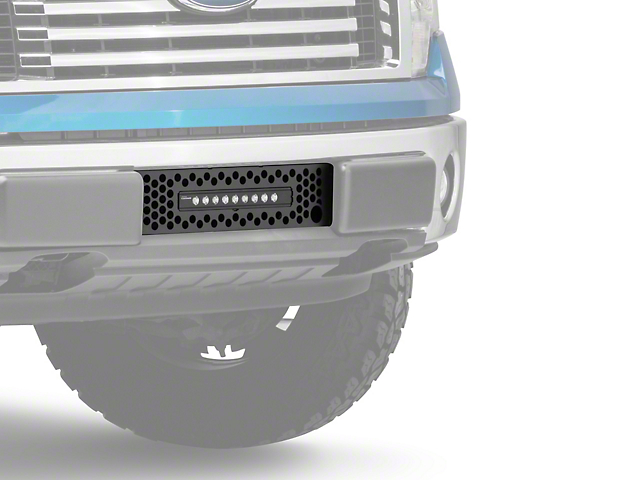 Putco Punch Design Lower Bumper Grille Insert w/ 10 in. Luminix Light Bar & Heater Plug Opening - Black (09-14 All, Excluding Raptor, Harley Davidson & 2011 Limited)