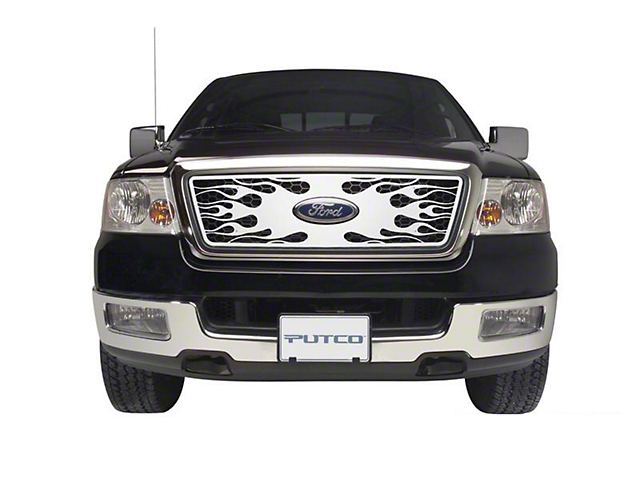 Putco Flaming Inferno Stainless Steel Upper Overlay Grille w/ Emblem Cutout - Polished (04-08 XL, XLT, Lariat)
