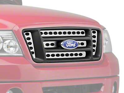 Putco Designer FX Oval Pattern 6-Piece Upper Overlay Grille w/ Emblem Cutout - Polished (04-08 F-150 STX, FX4, King Ranch)