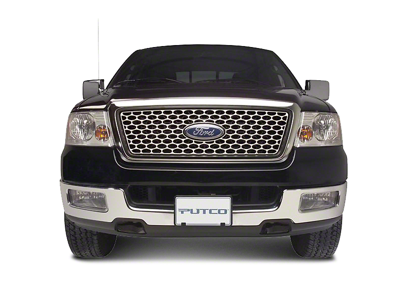 Putco Designer FX Oval Pattern Upper Overlay Grille w/ Emblem Cutout - Polished (99-03 F-150 w/ OE Bar Style Grille)