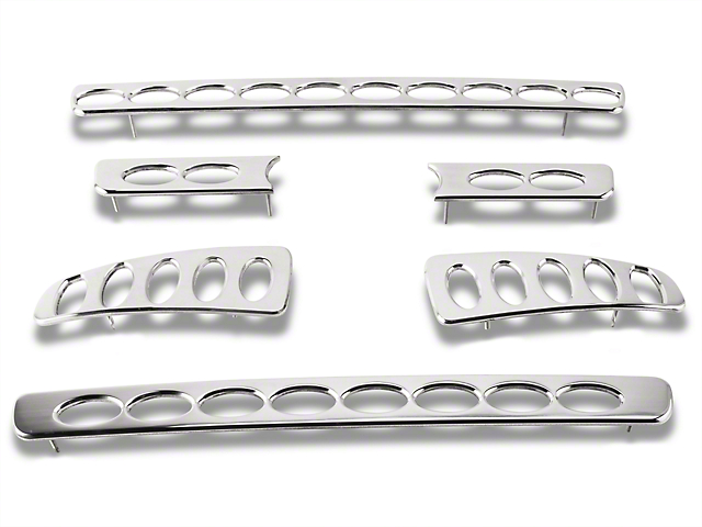 Putco Liquid 3D Billet Oval Pattern 6-Piece Upper Overlay Grille w/ Emblem Cutout - Polished (04-08 STX, FX4, King Ranch)