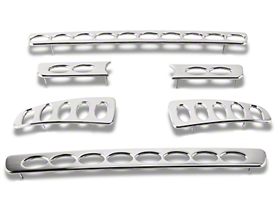 Putco Liquid 3D Billet Oval Pattern 6-Piece Upper Overlay Grille w/ Emblem Cutout - Polished (04-08 F-150 STX, FX4, King Ranch)