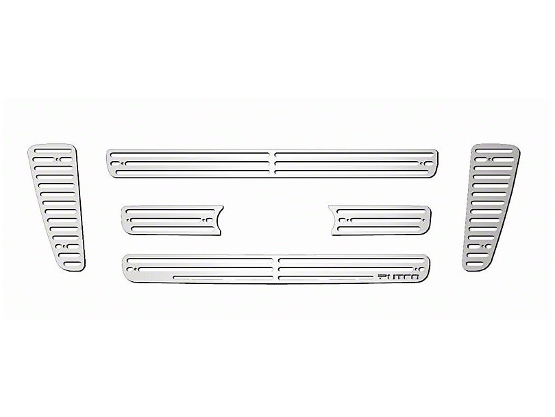 Putco Liquid Billet 6-Piece Upper Overlay Grille w/ Emblem Cutout - Polished (04-08 F-150 STX, FX4, King Ranch)