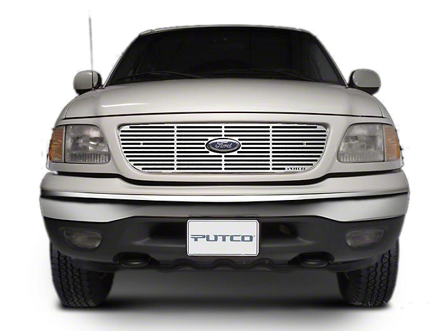 Putco Liquid Billet Upper Overlay Grille w/ Emblem Cutout - Polished (97-98 w/ OE Honeycomb Style Grille)