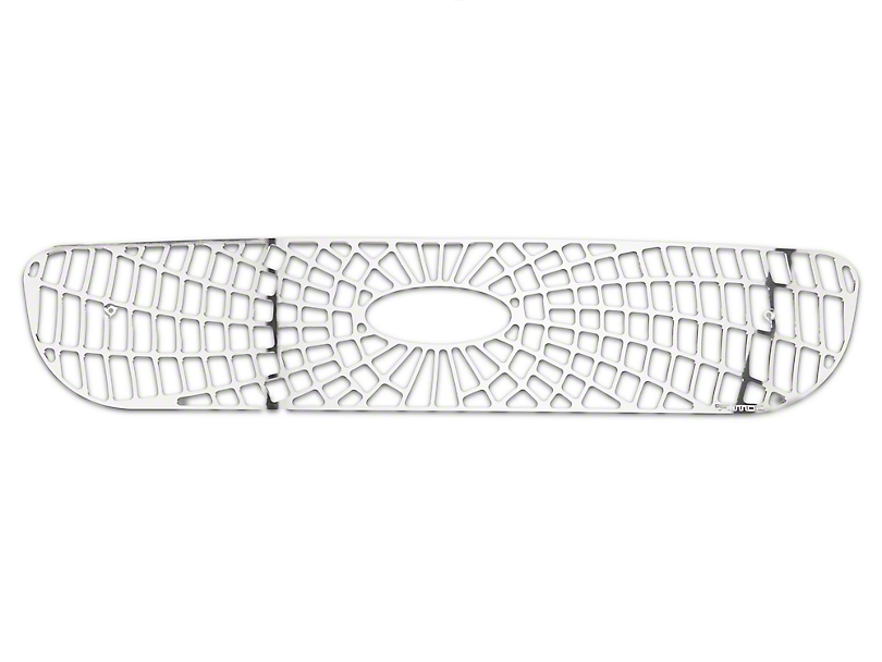 Putco Liquid Spider Web Upper Overlay Grille w/ Emblem Cutout - Polished (97-98 F-150 w/ OE Honeycomb Style Grille)