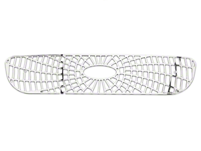 Putco Liquid Spider Web Upper Overlay Grille w/ Emblem Cutout - Polished (97-98 w/ OE Honeycomb Style Grille)