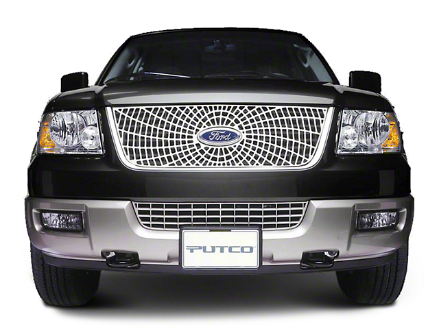 Putco Liquid Spider Web Upper Overlay Grille w/ Emblem Cutout - Polished (99-03 F-150 w/ OE Bar Style Grille)