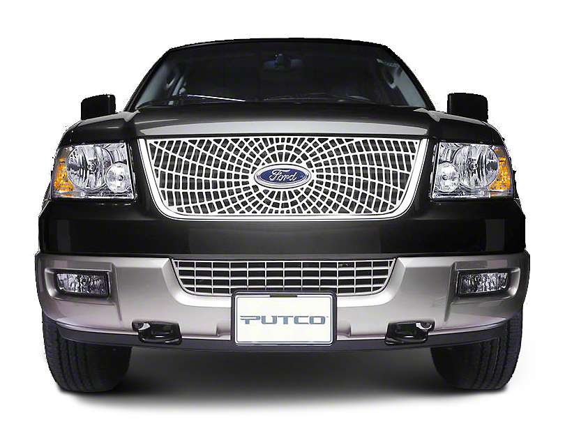 Putco Liquid Spider Web Billet Upper Overlay Grille w/ Emblem Cutout - Polished (99-03 w/ OE Honeycomb Style Grille)