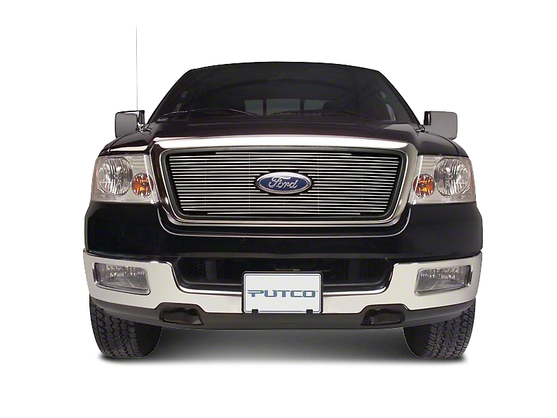 Putco Shadow Billet Upper Overlay Grille w/ Emblem Cutout - Polished (97-98 F-150 w/ OE Honeycomb Style Grille)