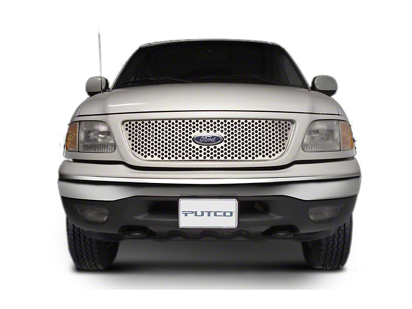 Putco Punch Stainless Steel Upper Overlay Grille w/ Emblem Cutout - Polished (97-98 F-150 w/ OE Honeycomb Style Grille)