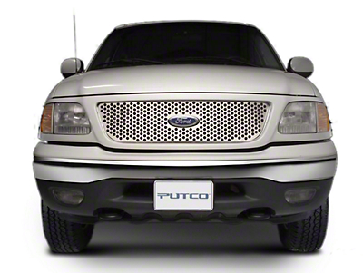 Putco Punch Stainless Steel Upper Overlay Grille w/ Emblem Cutout - Polished (97-98 w/ OE Honeycomb Style Grille)