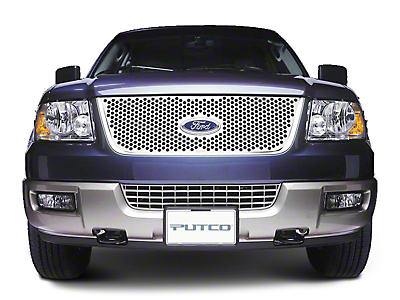 Putco Punch Stainless Steel Upper Overlay Grille w/ Emblem Cutout - Polished (99-03 w/ OE Bar Style Grille)