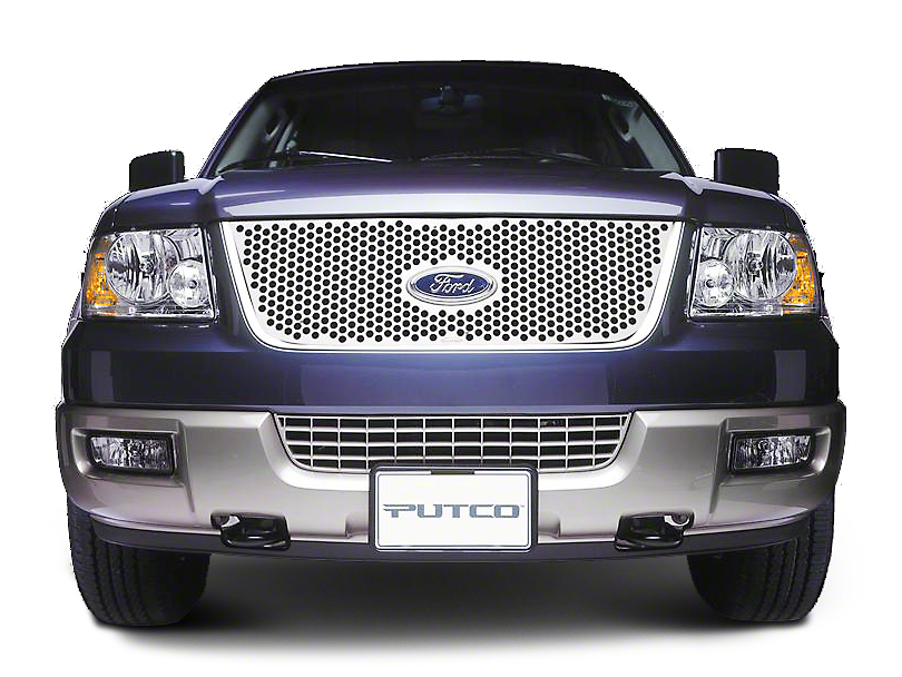 Putco Punch Stainless Steel Upper Overlay Grille w/ Emblem Cutout - Polished (99-03 F-150 w/ OE Honeycomb Style Grille)