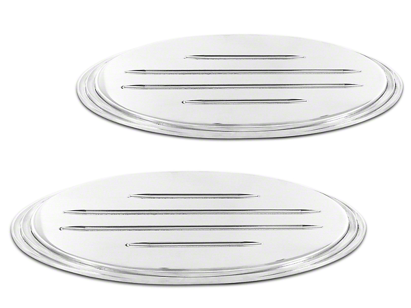 SpeedForm Oval Step Style Grille & Tailgate Emblems w/ Ball Milled Lines - Polished (04-14 F-150 w/o Camera)