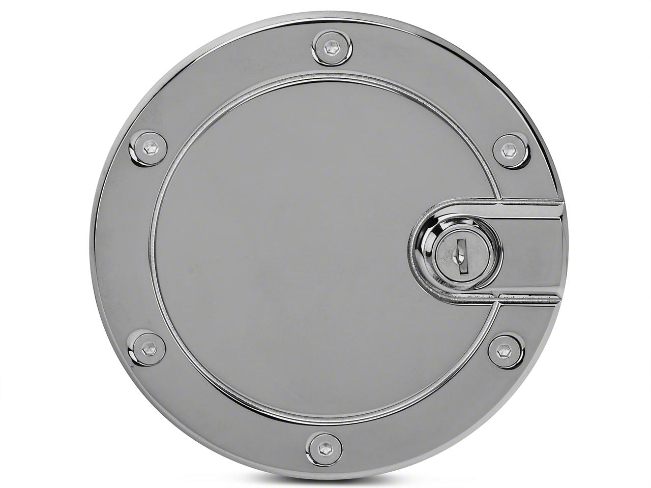 Modern Billet Race Style Billet Locking Fuel Door - Chrome (04-08 F-150 Styleside)