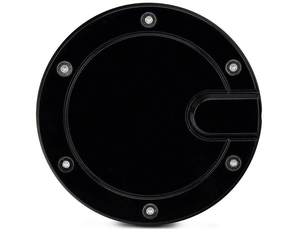 Modern Billet Race Style Billet Fuel Door - Gloss Black (04-08 Styleside)