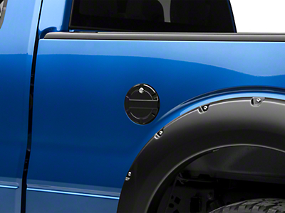 Modern Billet Striker Style Billet Locking Fuel Door - Gloss Black (09-14 Styleside)