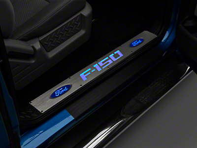 Recon Billet Door Sill - Brushed Finish w/ Blue Illumination (09-14)