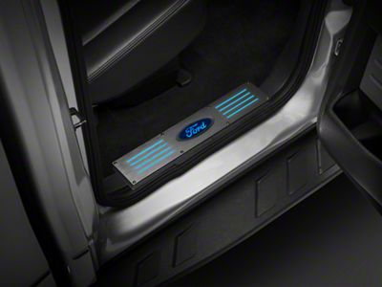 Billet Door Sill - Brushed Finish w/ Blue Illumination (09-14 F-150 SuperCrew)