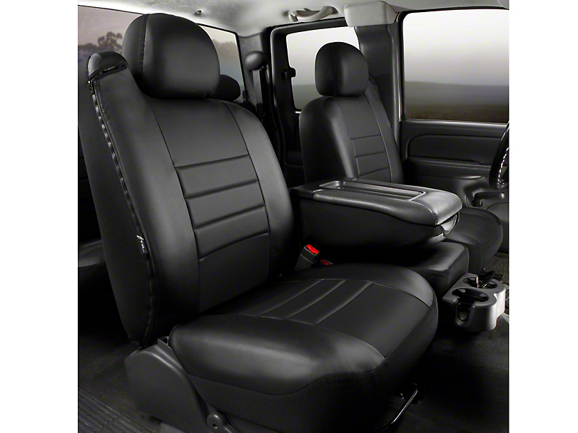 Fia Custom Fit LeatherLite Front 40/20/40 Seat Cover - Black (11-14 F-150 w/ Bench Seat)