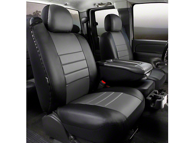 Fia Custom Fit LeatherLite Front 40/20/40 Seat Cover - Gray (11-14 w/ Bench Seat)