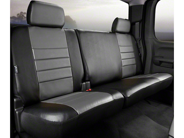 Fia Custom Fit LeatherLite Rear 60/40 Seat Cover - Gray (11-14 SuperCab, SuperCrew)