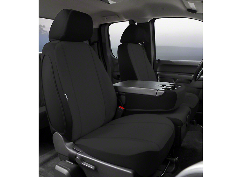 Fia Custom Fit Poly-Cotton Front 40/20/40 Seat Cover - Black (09-14 w/ Bench Seat)