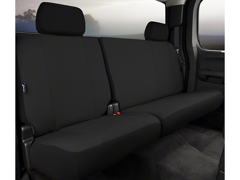 Fia Custom Fit Poly-Cotton Rear 60/40 Seat Cover - Black (11-14 F-150 SuperCab, SuperCrew)