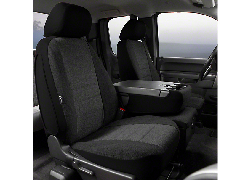 Fia Custom Fit Tweed Front 40/20/40 Seat Cover - Charcoal (09-14 w/ Bench Seat)