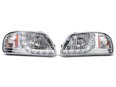 Axial Chrome 1 Piece LED Euro Headlights (97-03 All)