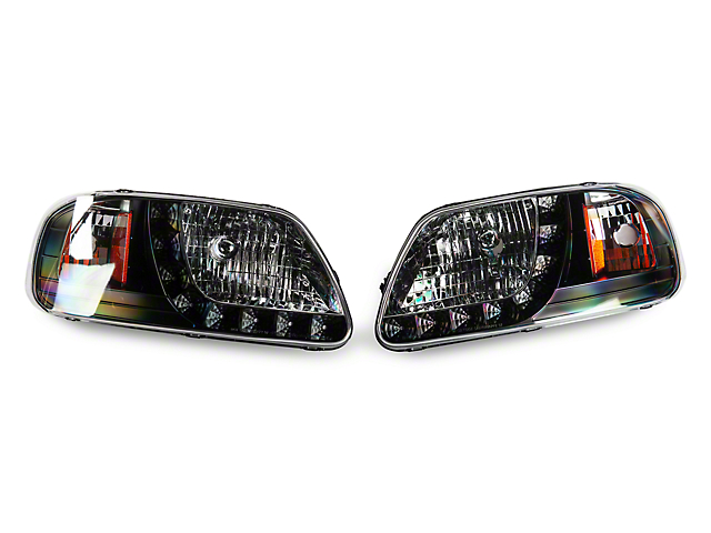 Euro Headlights with LED DRL; Black (97-03 F-150)