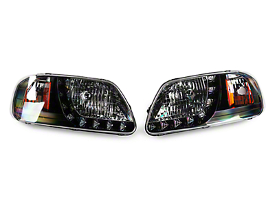 Axial Black 1 Piece LED Euro Headlights (97-03 F-150)